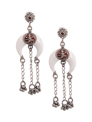 Red-White Enameled Silver Earrings