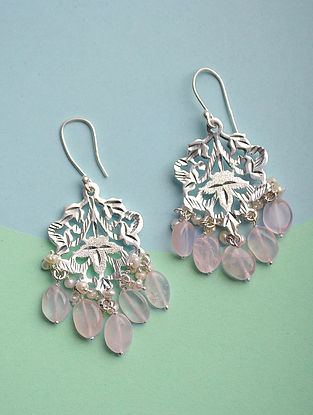 Silver Earrings with Rose Quartz