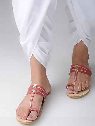 Red Handcrafted Leather Kohlapuri Flats