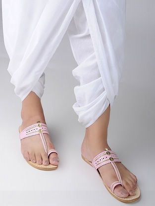 Pink Handcrafted Leather Kohlapuri Flats