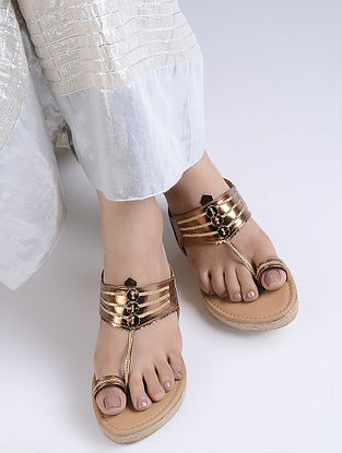 Bronze Handcrafted Jute Kolhapuri Wedges