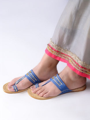 Blue-Beige Handcrafted Leather Kolhapuri Flats