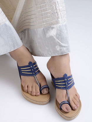 Blue Handcrafted Jute Kolhapuri Wedges
