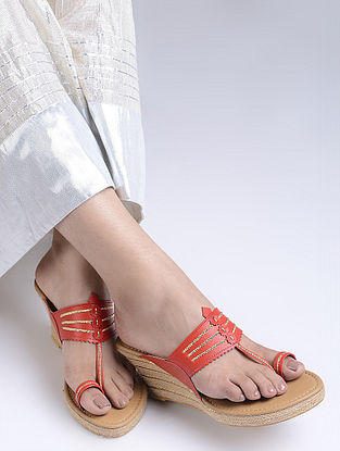 Red Handcrafted Jute Kolhapuri Wedges