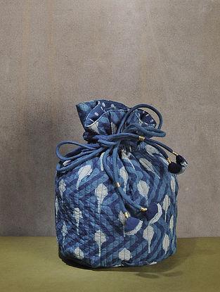 Indigo Dyed Quilted Dabu Printed Cotton Potli with Tassle Dori