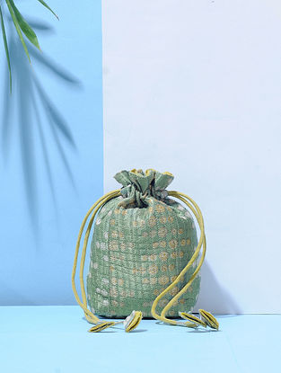 Green Dabu-Printed Mashru Silk Quilted Potli with Tassle Dori