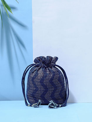 Indigo Dyed Printed Mulberry Silk Quilted Potli with Tassle Dori
