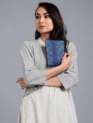 Indigo Blue Naturally Dyed Dabu Printed Cotton Pouch