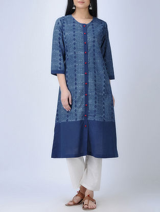 Indigo-Ivory Natural-dyed Dabu-printed Button-down Cotton Kurta