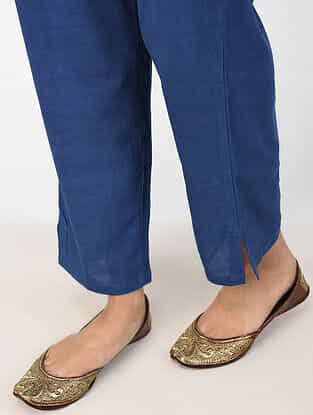 Indigo Natural-dyed Cotton Pants