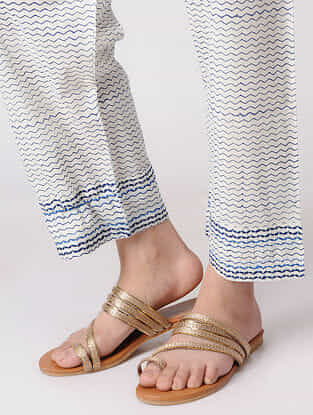 White Tie-up Cotton Pants with Embroidered Hem