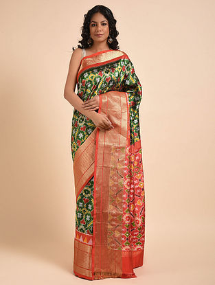 Green-Red Handwoven Double Ikat Silk Saree