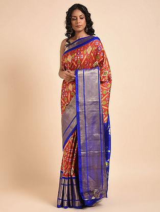 Red-Blue Handwoven Double Ikat Silk Saree