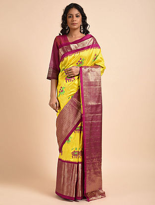 Yellow-Purple Handwoven Double Ikat Silk Saree