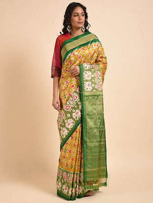 Yellow-Green Handwoven Double Ikat Silk Saree