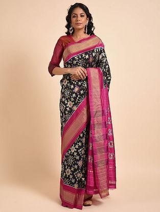 Black-Purple Handwoven Double Ikat Silk Saree
