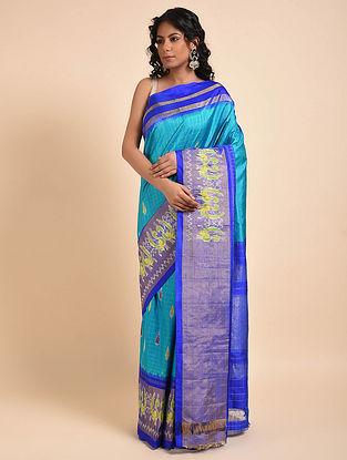 Blue-Green Handwoven Double Ikat Silk Saree