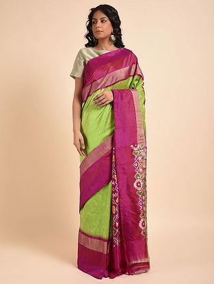 Green-Purple Handwoven Double Ikat Silk Saree