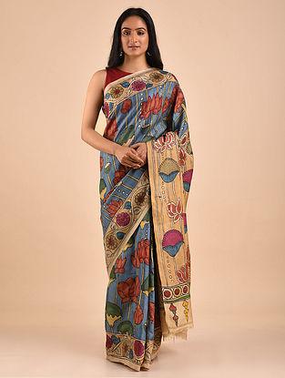 Blue-Beige Hand Painted Kalamkari Tussar Silk Saree