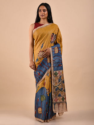 Yellow-Blue Hand Painted Kalamkari Tussar Silk Saree
