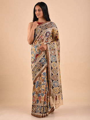 Multicolored Hand Painted Kalamkari Tussar Silk Saree