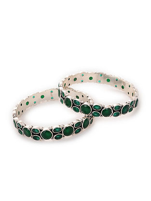 Green Silver Bangles (Set of 2)