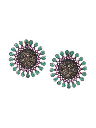 Green Maroon Tribal Silver Earrings