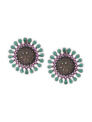 Green Maroon Tribal Silver Earrings