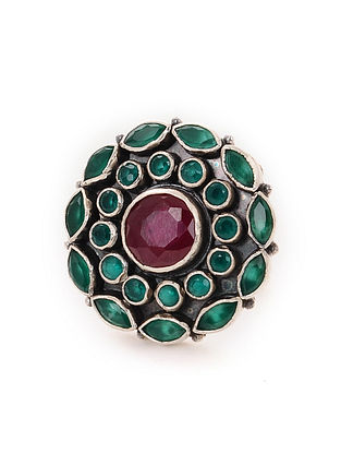Maroon Green Tribal Silver Adjustable Ring