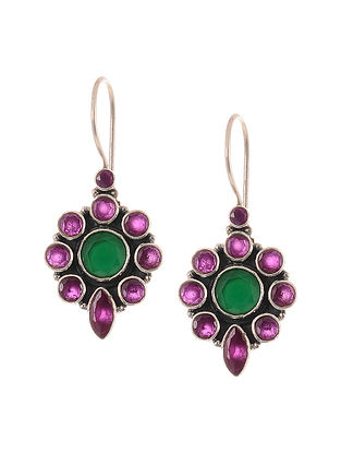Maroon Green Silver Earrings