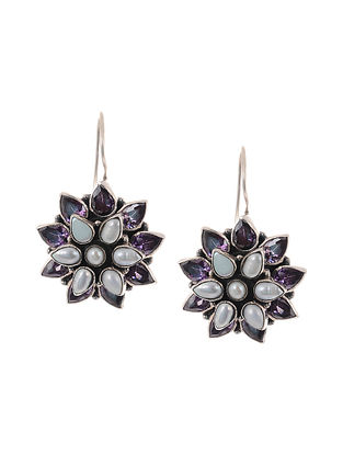 Purple Silver Earrings with Pearls