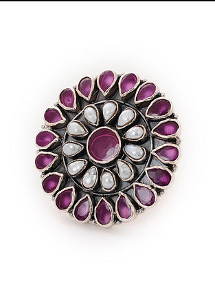 Maroon Tribal Silver Adjustable Ring with Pearls