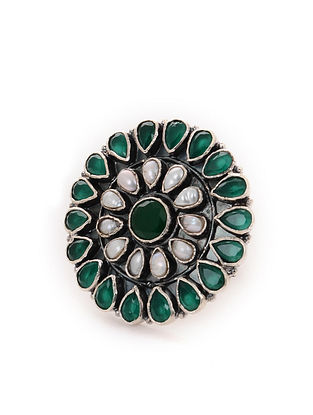 Green Tribal Silver Adjustable Ring with Pearls