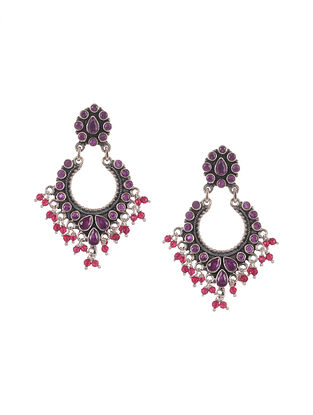 Purple Pink Silver Earrings