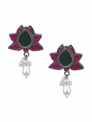 Maroon Green Silver Earrings with Pearls