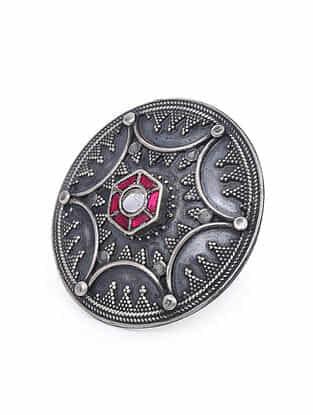 Maroon Tribal Silver Adjustable Ring