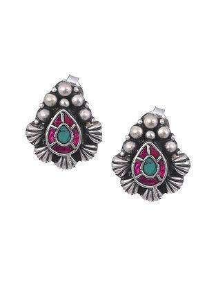 Maroon Turquoise Tribal Silver Stud Earrings