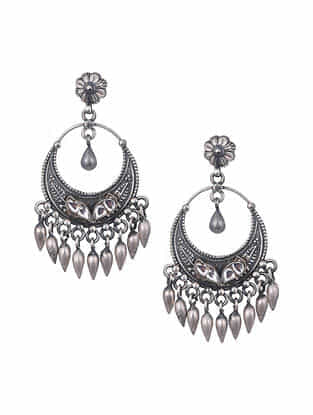 Tribal Silver Kundan Earrings