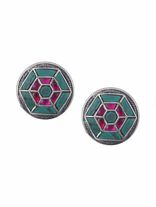 Maroon Turquoise Tribal Silver Stud Earrings