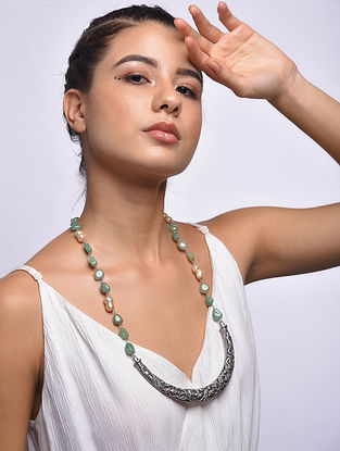 Green Tribal Silver Necklace with Pearls
