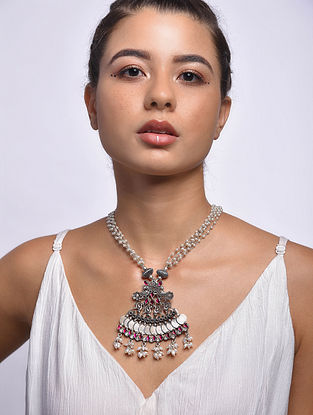 Maroon Tribal Silver Necklace with Freshwater Pearls