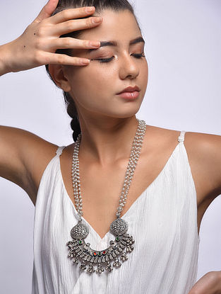 Tribal Silver Necklace with Freshwater Pearls