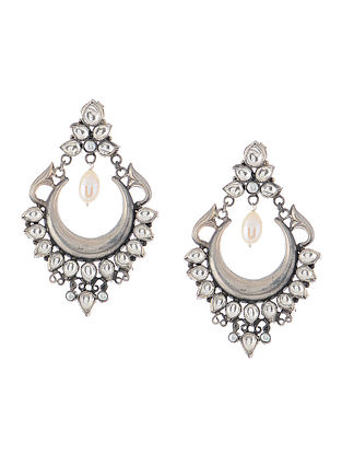 Kundan-inspired Pearl Silver Earrings