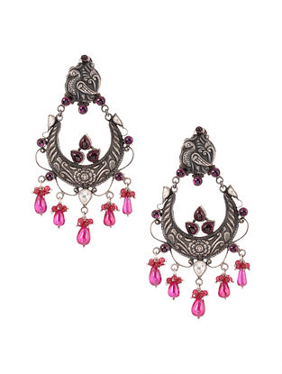 Pink Kundan-inspired Silver Earrings with Peacock Motif