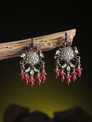 Pink Kundan-inspired Silver Earrings with Floral Motif