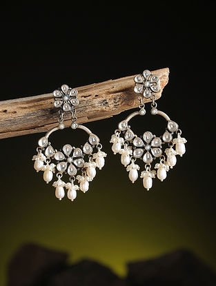 Pearl Kundan-inspired Silver Earrings with Floral Design