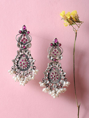 Kundan-inspired Silver Earrings with Fresh Water Pearls