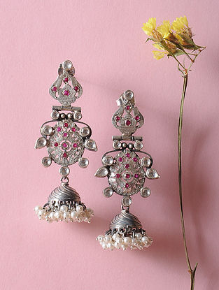 Kundan-inspired Silver Jhumkis with Fresh Water Pearls