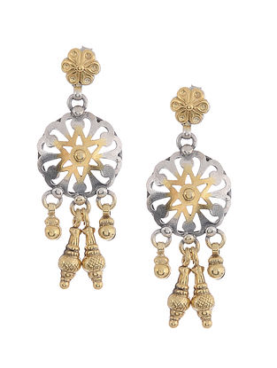 Dual Tone Tribal Silver Earrings
