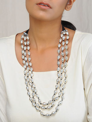 Dholki Beaded Silver Necklace